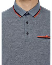 Burton Blue Navy Two-tone Polo Shirt With Orange Tipping for men
