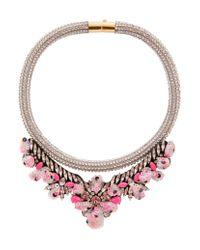 Shourouk | Pink Mini Teresa Sequin Rose Necklace | Lyst