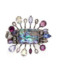 Alexander McQueen | Multicolor Crystal Embellished Flower Cuff | Lyst