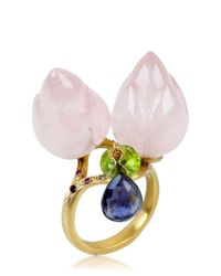 Alice Cicolini - Pink Double Lotus Rose Quartz Ring - Lyst