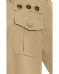 Marc Jacobs Metallic Gold Cotton Twill Short Sleeve Military Shirt