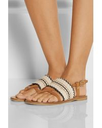 See By Chloé - Brown Kenna Leather And Woven Cotton Sandals - Lyst