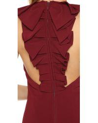 Badgley Mischka - Purple Ruffle Back Gown - Lyst