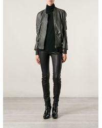 Rick Owens Gray Leather Bomber Jacket
