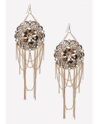 Bebe | Metallic Flower & Fringe Earrings | Lyst