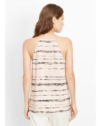 VINCE | Black Silk Shadow Stripe Print Racerback Cami | Lyst