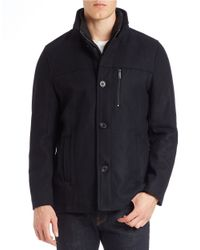 Kenneth Cole | Blue Wool-blend Button-front Jacket for Men | Lyst