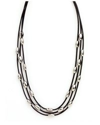 Nine West | Metallic Three Row Oval Bead Necklace | Lyst