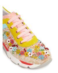 Rene Caovilla Multicolor Floral Bead Embroidery Lace Sneakers