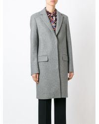 MSGM - Gray Classic Single Breasted Coat - Lyst