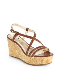 kate spade new york | Brown Tender Leather Cork Wedge Sandals | Lyst