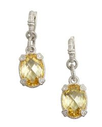 Judith Ripka | Metallic Canary Crystal And Silver Oval Drop Earrings | Lyst