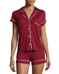 Eberjey Red Gisele Boxer-short Pajama Set