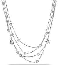 David Yurman | Metallic Starburst Chain Necklace With Diamonds | Lyst