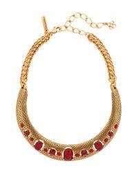 Oscar de la Renta | Red Gold-Tone Crystal Necklace | Lyst