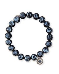 Sydney Evan | Multicolor 10mm Black Diamond Spinel Bead Bracelet With Disc Charm | Lyst