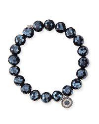 Sydney Evan - Multicolor 10mm Black Diamond Spinel Bead Bracelet With Disc Charm - Lyst