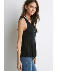 Forever 21 - Black Ribbed Trapeze Tank - Lyst