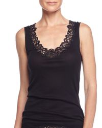 Hanro | Black Isabeau Lace-trimmed Tank Top | Lyst