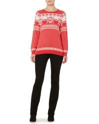 Linea Weekend - Red Shadow Snowflake Jumper - Lyst