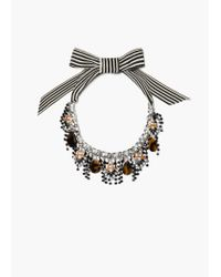 Mango | Black Waterfall Bow Necklace | Lyst