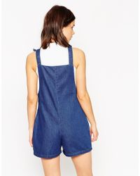 ASOS - Blue Denim Playsuit With Tie Straps - Lyst