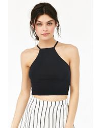 Truly Madly Deeply - Black Cropped High Neck Tank Top - Lyst