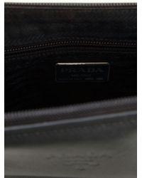 Prada - Black Logo Embossed Clutch - Lyst