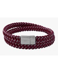 Tateossian | Intrecciato Bracelet In Red Leather And Steel With Silver Clasp for Men | Lyst