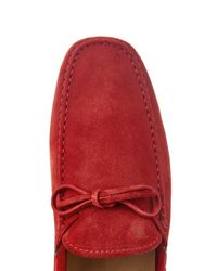 Tod's Red Gommino Suede Driving Shoes for men