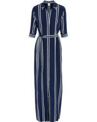 Iris & Ink Blue Adie Striped Silk Crepe De Chine Maxi Dress