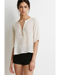 Forever 21 | Natural Buttoned Peasant Top | Lyst
