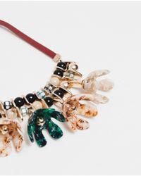 Zara | Metallic Flower Gemstone Necklace | Lyst
