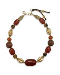 Lauren by Ralph Lauren | Metallic Gold Tone Brown Chunky Bead Collar Necklace | Lyst