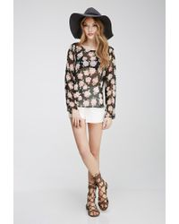 Forever 21 - Black Crisscross Back Rose Print Top You've Been Added To The Waitlist - Lyst