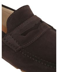 A.Testoni Brown Suede Driving Shoes for men
