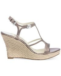 Michael Kors - Metallic Michael Cicely Platform Wedge Sandals - Lyst