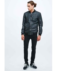 Anerkjendt Alko Leather Bomber Jacket in Black for men