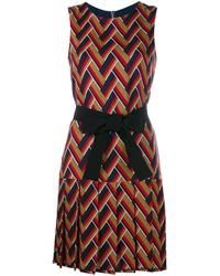 Gucci Brown Chevron Pleated Sleeveless Dress