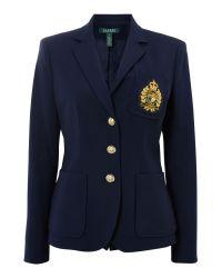 Lauren by Ralph Lauren Blue Della Navy Blazer with Crest