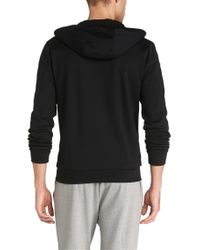 BOSS Green - Black Hooded Sweatshirt Jacket 'saggy' In Cotton Blend for Men - Lyst