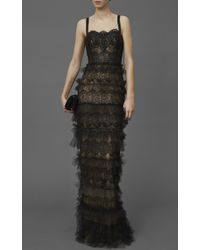 Marchesa Black Beaded Lace Bustier Column Gown