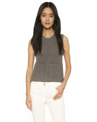 Madewell | Gray Sleeveless Indie Ribbed Pullover - Heather Soot | Lyst