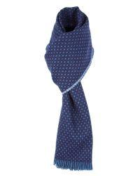 Alexandre Savile Row Blue Navy Birdseye Spot Scarf for men