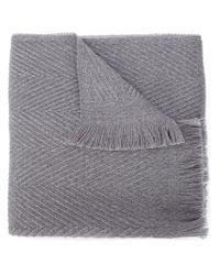 Our Legacy - Gray Herringbone Print Scarf - Lyst