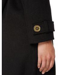 Biba - Black Detachable Faux Fur Collar Wrap Wool Mix Coat - Lyst