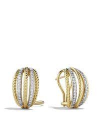 David Yurman Yellow Lantana Earrings With Diamonds In Gold