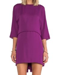 Halston Purple Ruffle Back Dress