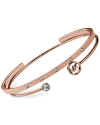 Michael Kors - Metallic Rose Gold-Tone Clear Crystal Open Cuff 2-Pc. Bangle Set - Lyst