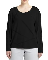 Lafayette 148 New York | Black Long-sleeve Mosaic Intarsia Sweater | Lyst